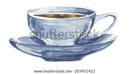 Watercolor tea set with blue cup of tea