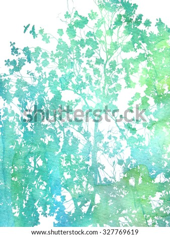 Watercolor texture, blended with photography. Tree branches and leaves.