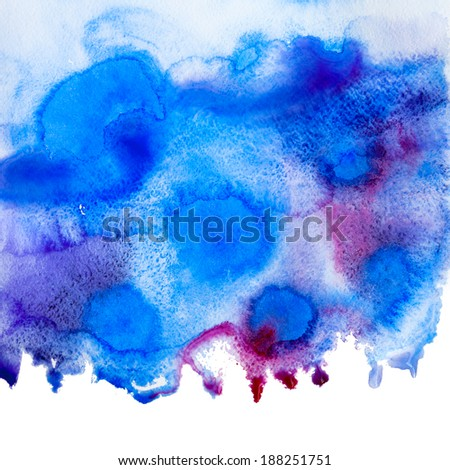 Watercolor texture. Blue grunge paper template. Water. Wet paper. Blobs, stain, paints blot. Marine theme.  - stock photo