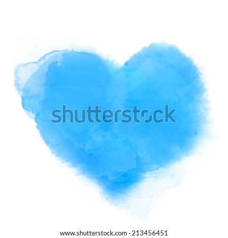 Watercolor textured illustration of blue heart - stock photo