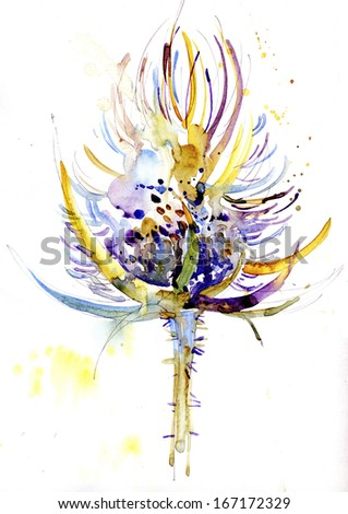 Watercolor thistle - stock photo