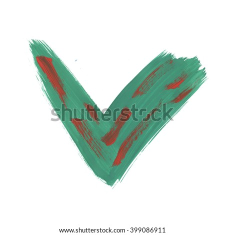 watercolor  tick green handmade check mark isolated on white background