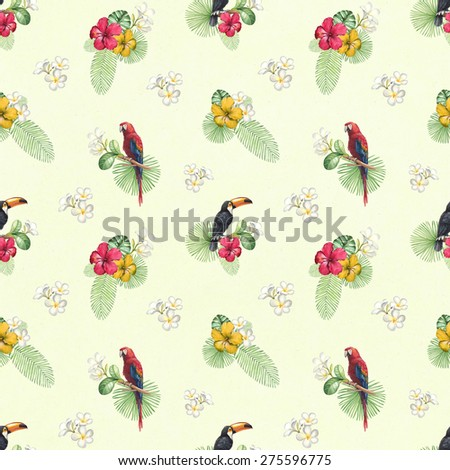 Watercolor toucan and parrot. Seamless pattern - stock photo