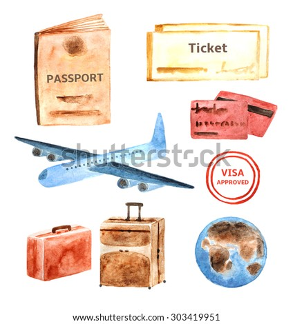 Watercolor travel, tourist objects collection including passport, ticket, plane, stamp, credit card, baggage, globe - stock photo