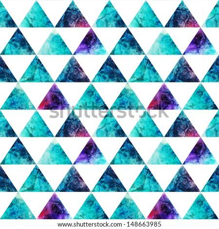 Watercolor triangles seamless pattern. Modern hipster seamless pattern. Colorful texture in hipster style. Geometry template. Grunge pattern.Retro triangle background. Bright pattern.  - stock photo