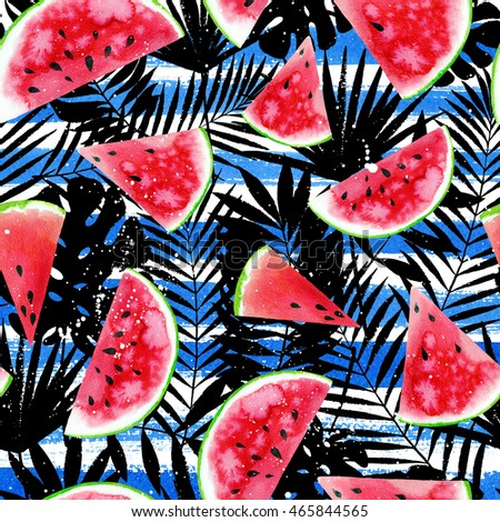 Watercolor tropical background with colourful watermelon slices, palm leaves on horizontal stripe background. Raster summer design.