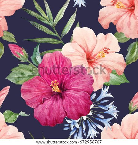 Watercolor Tropical Flower Pattern With Pink And Purple Hibiscus Palm Leaves Agapanthus Blue
