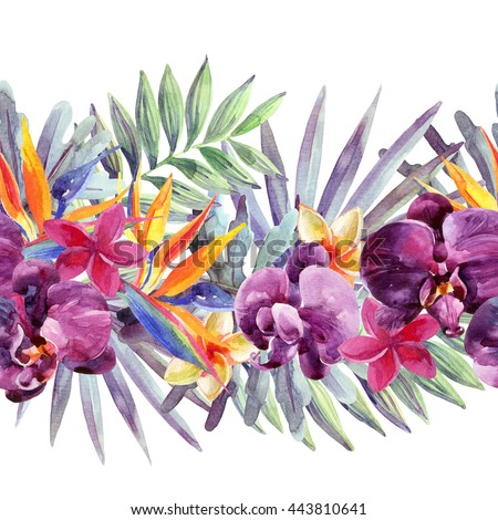 Watercolor Tropical Leaves Exotic Flowers Seamless Stock