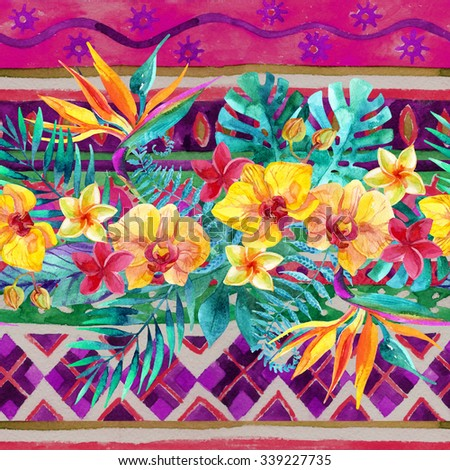 Watercolor tropical leaves and flowers seamless pattern. Hand painted illustration on ornamental background - stock photo