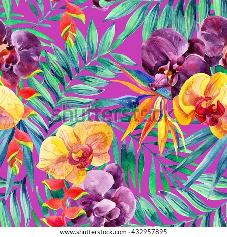 Watercolor tropical leaves and flowers seamless pattern. Tropical jungle background. Exotic bird-of-paradise, orchid and lobster-claws flowers. Hand painted illustration for floral design. - stock photo