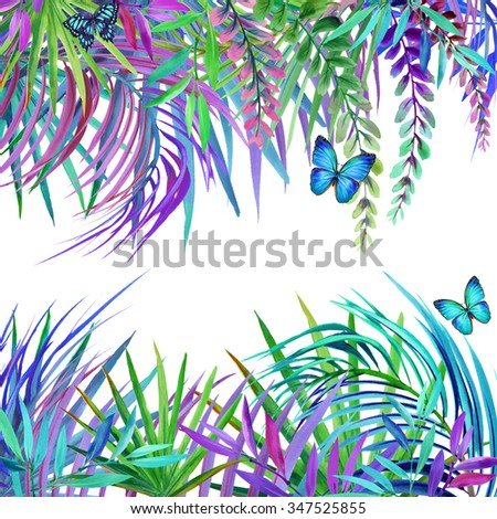 Watercolor tropical nature background. Tropical leaves, flowers and butterfly. watercolor summer floral background - stock photo
