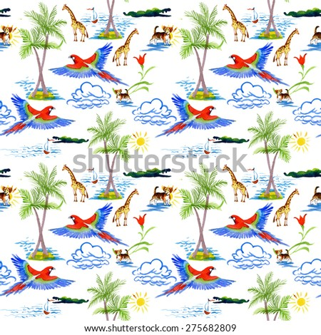 Watercolor Tropical parrots, palm, clouds, boat, sailboat, dog, crocodile and giraffes exotic seamless pattern on white background - stock photo