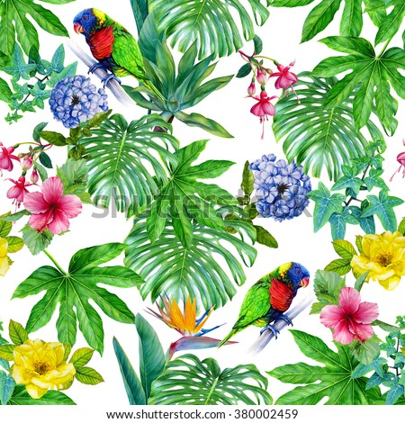 Watercolor tropical seamless pattern. Hand drawn illustration. Paradise exotic leaves and flowers.  Rainbow lorikeet parrot, Ivy, Monstera deliciosa, Hibiscus, Fuchsia, Yucca palm, Rose, Strelitzia - stock photo