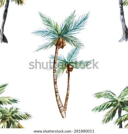 watercolor tropical seamless pattern, palm trees - stock photo