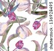 Watercolor Tulips Seamless Pattern - stock photo