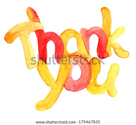 Watercolor typographic hand painted text Thank you - stock photo