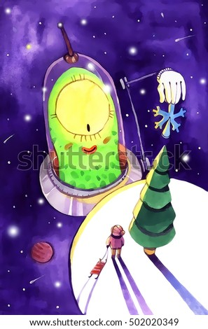 watercolor ufo, christmas cartoon illustration isolated on white background