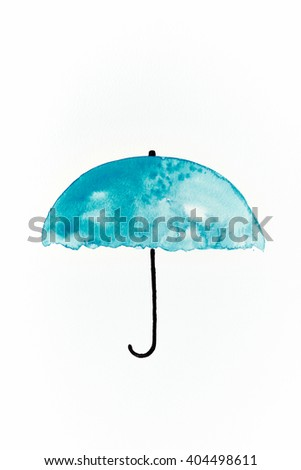 Watercolor Umbrella (hand painted) - stock photo