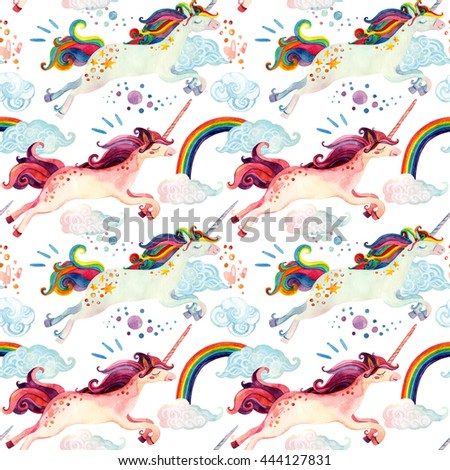 Watercolor unicorn seamless pattern. Fairy tale illustration with flying unicorn, rainbow, magic clouds and rain on white background. Hand painted elements for kids, children design - stock photo
