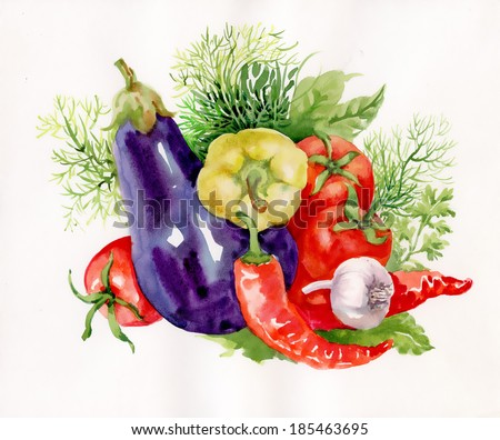Watercolor vegetables on white - stock photo
