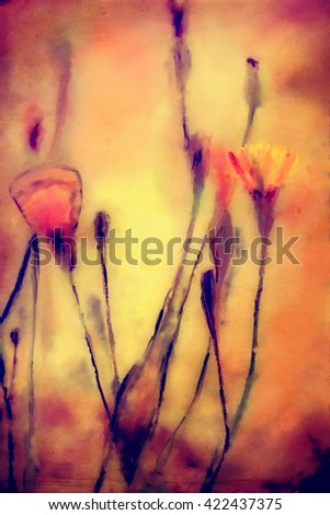 watercolor vertical abstract painting, wild flowers and branches, grunge red colors