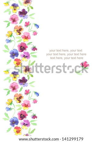 Watercolor vertical seamless pattern border with pansies flowers - stock photo