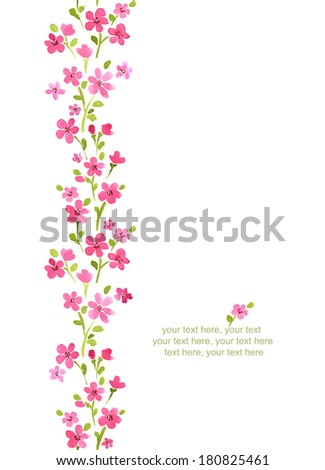 Watercolor vertical seamless pattern border with spring cherry blossoms. - stock photo