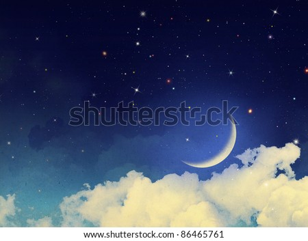 Watercolor vintage background with fantasy clouds, stars and crescent moon - stock photo