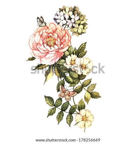 Watercolor vintage floral motifs. Hand painting. Illustration for greeting cards, invitations, and other printing projects. - stock photo