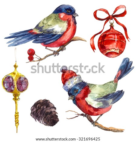 Watercolor vintage Merry Christmas and Happy New Year set isolated on white background, Bullfinch Rowan Christmas balls Pine cone, holiday illustration. - stock photo