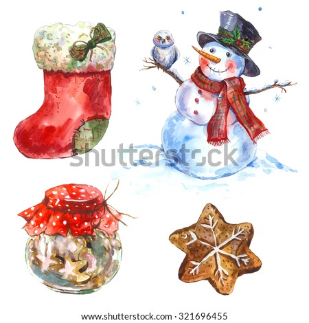 Watercolor vintage Merry Christmas and Happy New Year set isolated on white background, Gingerbread Christmas boot, Snowman, Owl, Cookies, holiday illustration. - stock photo