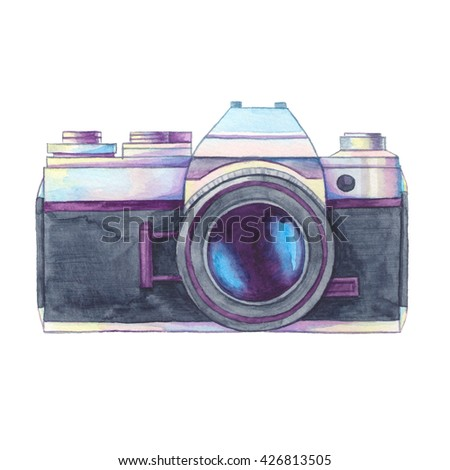Watercolor vintage photo camera on white background. Retro film camera. Passion for photography. Watercolor illustration, clip art perfect for logo, invitation, brochure  - stock photo