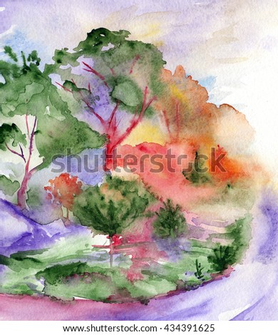Watercolor violet road trees pines wood forest landscape