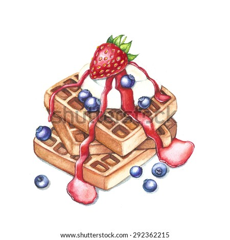 Watercolor waffle with strawberry, ice-cream, jam and blueberry - stock photo