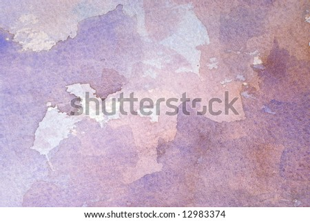 Watercolor wash background with blue and brown layers - stock photo