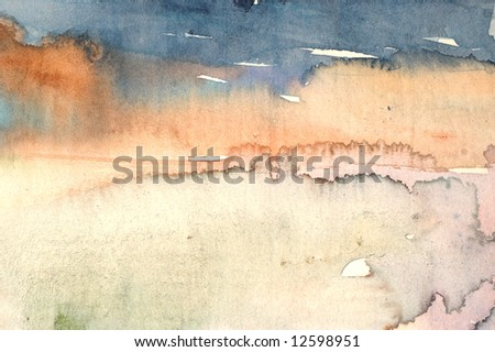 Watercolor wash background with red and blue layers - stock photo