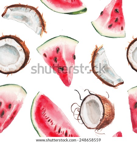 watercolor watermelon and coconut pattern - stock photo