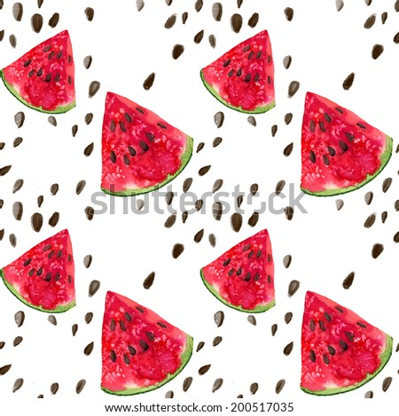 Watercolor Watermelon Pattern. Hand drawn illustration. - stock photo