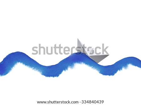 watercolor wave and paper boat collage on white - stock photo