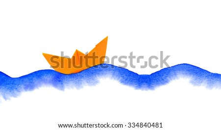 watercolor waves and paper boat collage on white - stock photo
