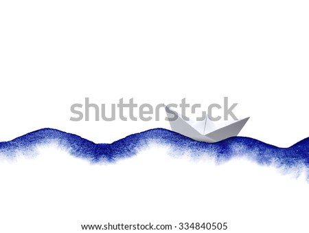 watercolor waves with paper boat collage on white - stock photo