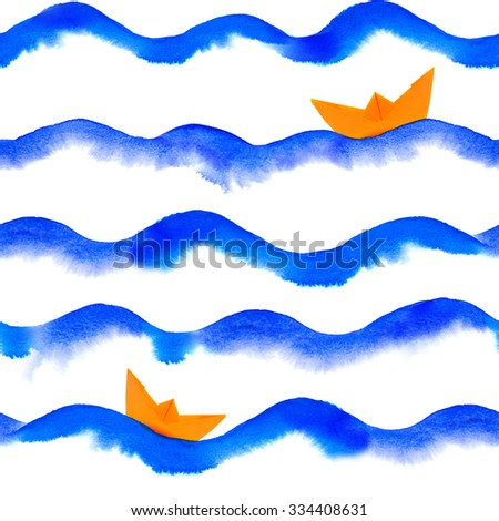 watercolor waves with paper boat repeatable seamless art background - stock photo