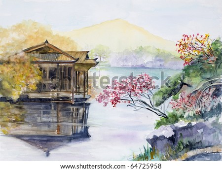Watercolor , West Lake, Hangzhou, China