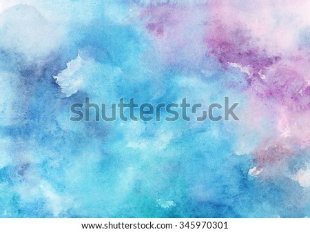 Watercolor Wet Background. Blue .Watercolor abstract background. Hand painted watercolor background. Watercolor wash. Abstract painting. Watercolor wash. - stock photo