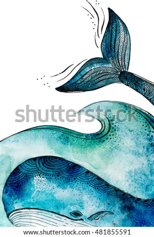 watercolor whale under the water isolated on white background