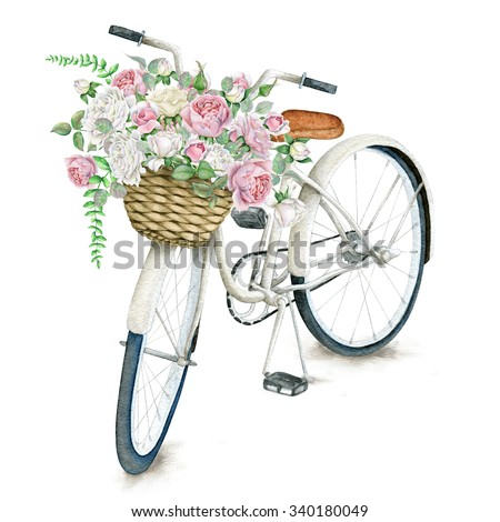 Watercolor White Bicycle With Beautiful Flower Basket isolated on white background - stock photo