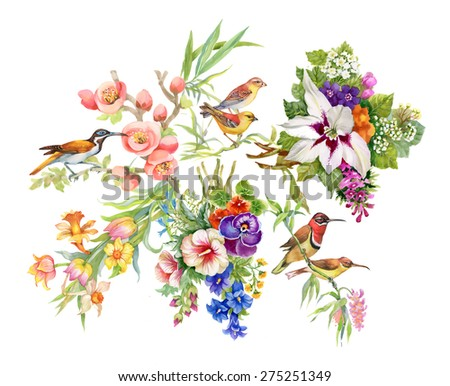 Watercolor Wild exotic birds on flowers pattern on white background  - stock photo