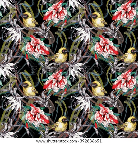 Watercolor Wild exotic birds on flowers seamless pattern on black background