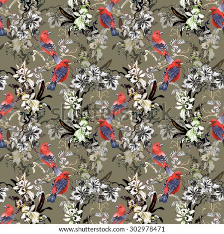 Watercolor wild exotic red birds on twig and wildflowers seamless pattern on beige background - stock photo