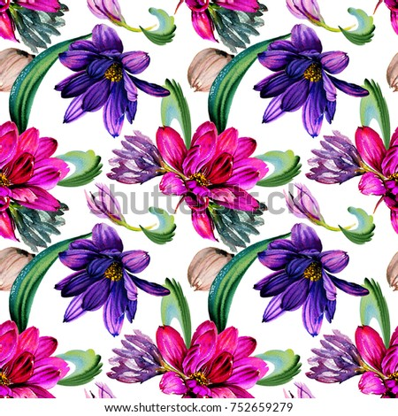 Watercolor Wild Exotic Tropical Flowers PatternSeamless Wallpaper And Free Designe Fashion Textile Print